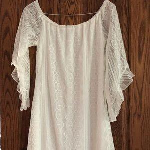 Off White over the shoulder dress